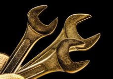 Three metallic wrenches Royalty Free Stock Image