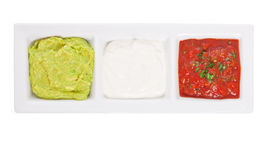Three mexican dips. In the colors of the national flag stock photo