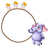 Three mice and an elephant Stock Images