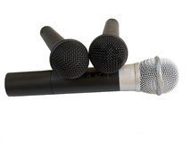 Three microphone on white background Royalty Free Stock Images