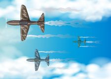 Three military aircrafts flying in blue sky. Illustration Stock Photo