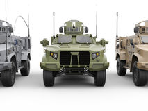 Three military all terrain vehicles - front view closeup shot Royalty Free Stock Image