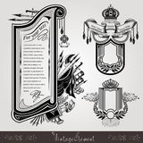 Three military style engraving banners or labels with vintage weapons Stock Image