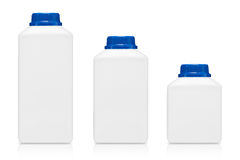 Three milk bottle in different size of bottle on white background royalty free stock photography