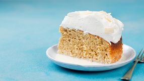 Three milk cake, tres leches cake with coconut. Traditional dessert of Latin America. Royalty Free Stock Photo