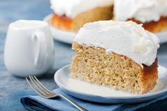 Three milk cake, tres leches cake with coconut. Traditional dessert of Latin America. Stock Photo