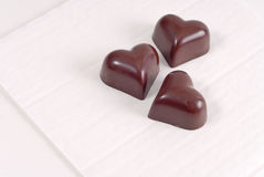 Three Milk Chocolate Hearts Royalty Free Stock Photography