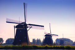 Three Mills in a Dutch Landscape -2 Stock Photos