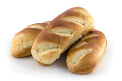 Three mini brioche on white Stock Images