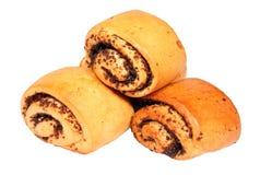 Three mini buns with poppyseed Stock Photography