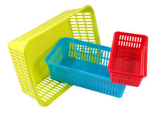 Three  mini household colored storage plastic basket Royalty Free Stock Photo