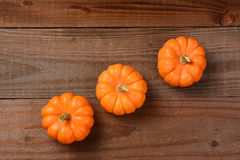 Three mini pumpkins Royalty Free Stock Image