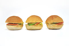 Three Mini Sandwiches. On white isolated background Stock Image