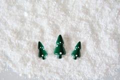Three Miniature Christmas Trees Stock Image