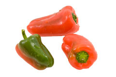 Three miniature peppers Royalty Free Stock Image