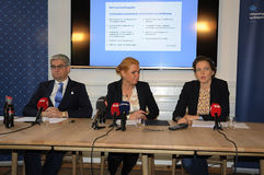 THREE MINISTERS PRESS CONFERENCE. 11 October 2016- Ms.Inger Stojberg minister for intgration and housing  Ms.Ellen Trane Norby minister for children and Stock Image