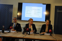 THREE MINISTERS PRESS CONFERENCE. 11 October 2016- Ms.Inger Stojberg minister for intgration and housing  Ms.Ellen Trane Norby minister for children and Stock Photos