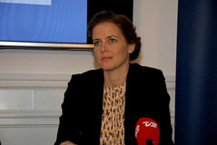 THREE MINISTERS PRESS CONFERENCE. 11 October 2016- Ms.Inger Stojberg minister for intgration and housing  Ms.Ellen Trane Norby minister for children and Stock Images