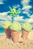 Three Mint Icecreams Royalty Free Stock Images