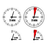 Three Minutes Clock on white background. Four options Royalty Free Illustration