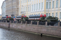 Three missile launchers s-300PM on the embankment of the Moika river. Preparing for the rehearsal of parade in honor of Victory Da Stock Photos