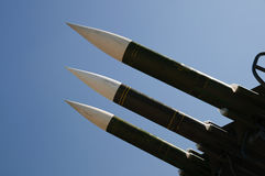 Three missiles. Against clear blue sky Royalty Free Stock Images