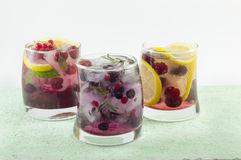 Three mixed fruit iced teas . Cold summer beverage Royalty Free Stock Photo