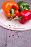 Three mixed peppers Stock Images