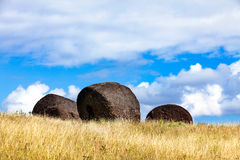 Three moai hats on field in Easter Island Royalty Free Stock Photos