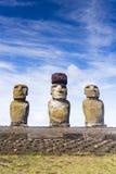 Three Moai statues in a row Royalty Free Stock Photos