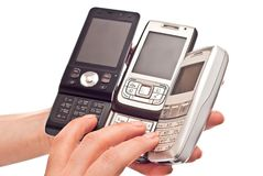 Three mobile phones Royalty Free Stock Photo