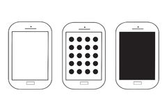 Three mobile phones vector set. Isolated on white background Stock Images