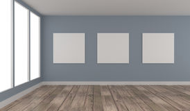 Three Mock up poster in a blue room. Three Mock up poster in a modern room with a wooden floor, 3d rendering Stock Photos
