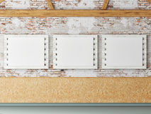 Three mock up poster in loft space, Royalty Free Stock Images
