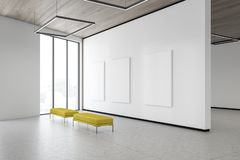 Three mock up posters in white gallery corner. Three vertical mock up posters hanging in gallery corner with white walls, concrete floor, wooden ceiling and two vector illustration