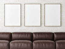 Three mock up white posters with brown leather sofa, 3d render Royalty Free Stock Photo