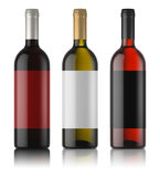 Three mockups of wine bottles with labels. White, rose and red wine. White background. 3d image stock illustration