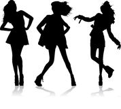 THREE MODEL SILHOUETTE. Silhouettes of three models on the catwalk Stock Photo