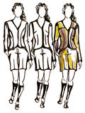 Three models. Is watercolours drawn illustration Royalty Free Stock Image