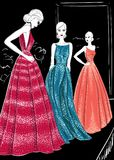 Three models in couture dresses catwolk. Illustration Stock Images