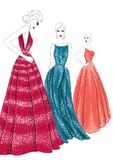 Three models in couture dresses. Illustration Stock Photography