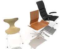 Three modern chairs Stock Images