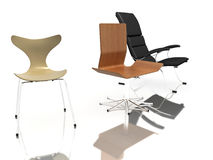 Three modern chairs Royalty Free Stock Images