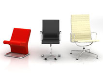 Three modern chairs Royalty Free Stock Image