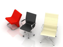 Three Modern Chairs Stock Photo