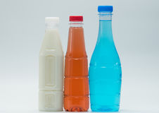 Three modern design bottles of soft drink, just add your own text. Three modern design bottles of soft drink on white background, just add your own text Royalty Free Stock Photography