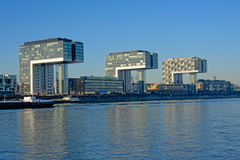 Free Three Modern L-shaped Apartment Buildings Along River Rhine, Cologne Stock Photo - 83962960
