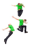 Three modern male dancers. Making difficul jumps, on white Stock Photography