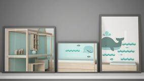 Three modern mirrors on shelf or desk reflecting interior design scene, bedroom nursery, minimalist white architecture interior de. Sign vector illustration