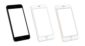 Three modern mobile phone devices in isometric, side position Stock Photo